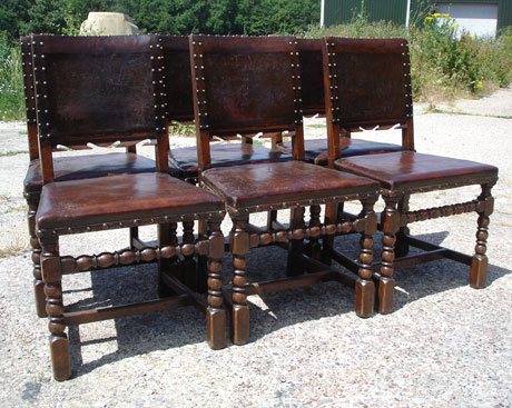 Bon Set Of 6 Leather Pub Chairs ...
