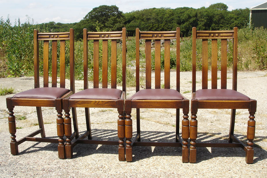 Set Of Four Oak Upholstered Pub Chairs